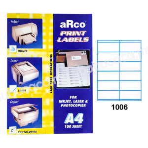 ARCO Print Label A4 Size for Inket, Laser & Photocopier 1006 100sheets