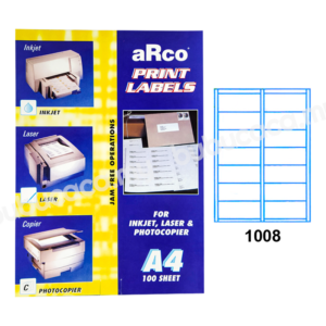 ARCO Print Label A4 Size for Inket, Laser & Photocopier 1008 100sheets