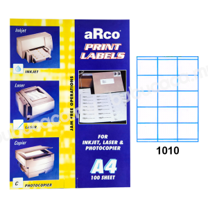ARCO Print Label A4 Size for Inket, Laser & Photocopier 1010 100sheets