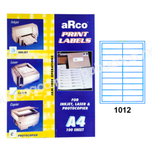 ARCO Print Label A4 Size for Inket, Laser & Photocopier 1012 100sheets