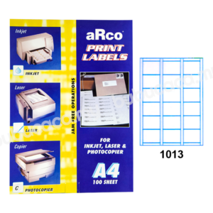 ARCO Print Label A4 Size for Inket, Laser & Photocopier 1013 100sheets