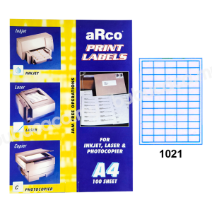 ARCO Print Label A4 Size for Inket, Laser & Photocopier 1021 100sheets