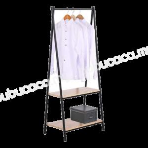 OKURA Wooden Single Tier Space Saving Clothes / Garment Rack
